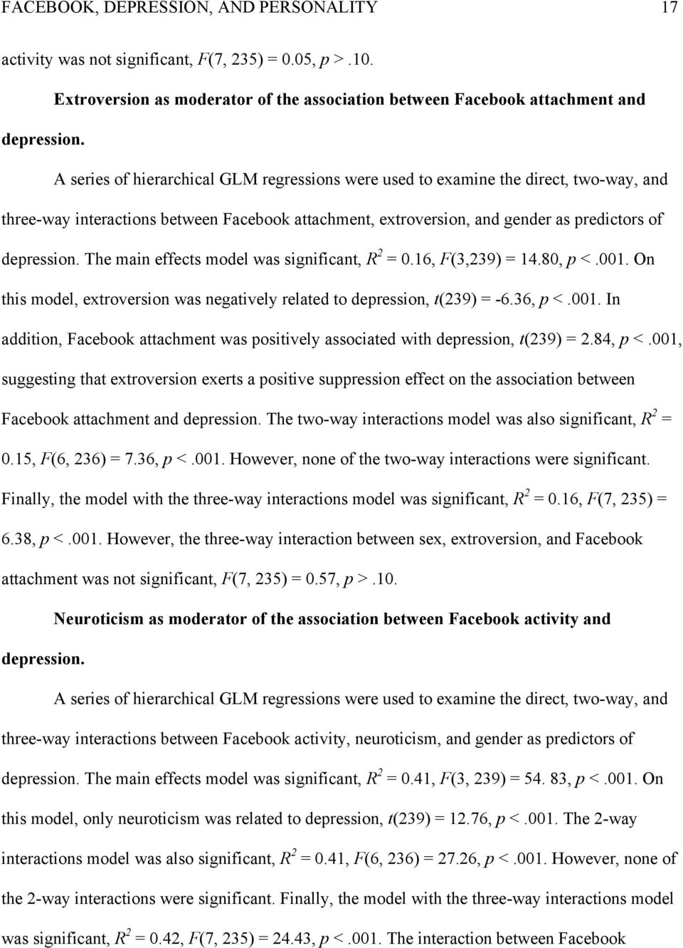 The main effects model was significant, R 2 = 0.16, F(3,239) = 14.80, p <.001. On this model, extroversion was negatively related to depression, t(239) = -6.36, p <.001. In addition, Facebook attachment was positively associated with depression, t(239) = 2.