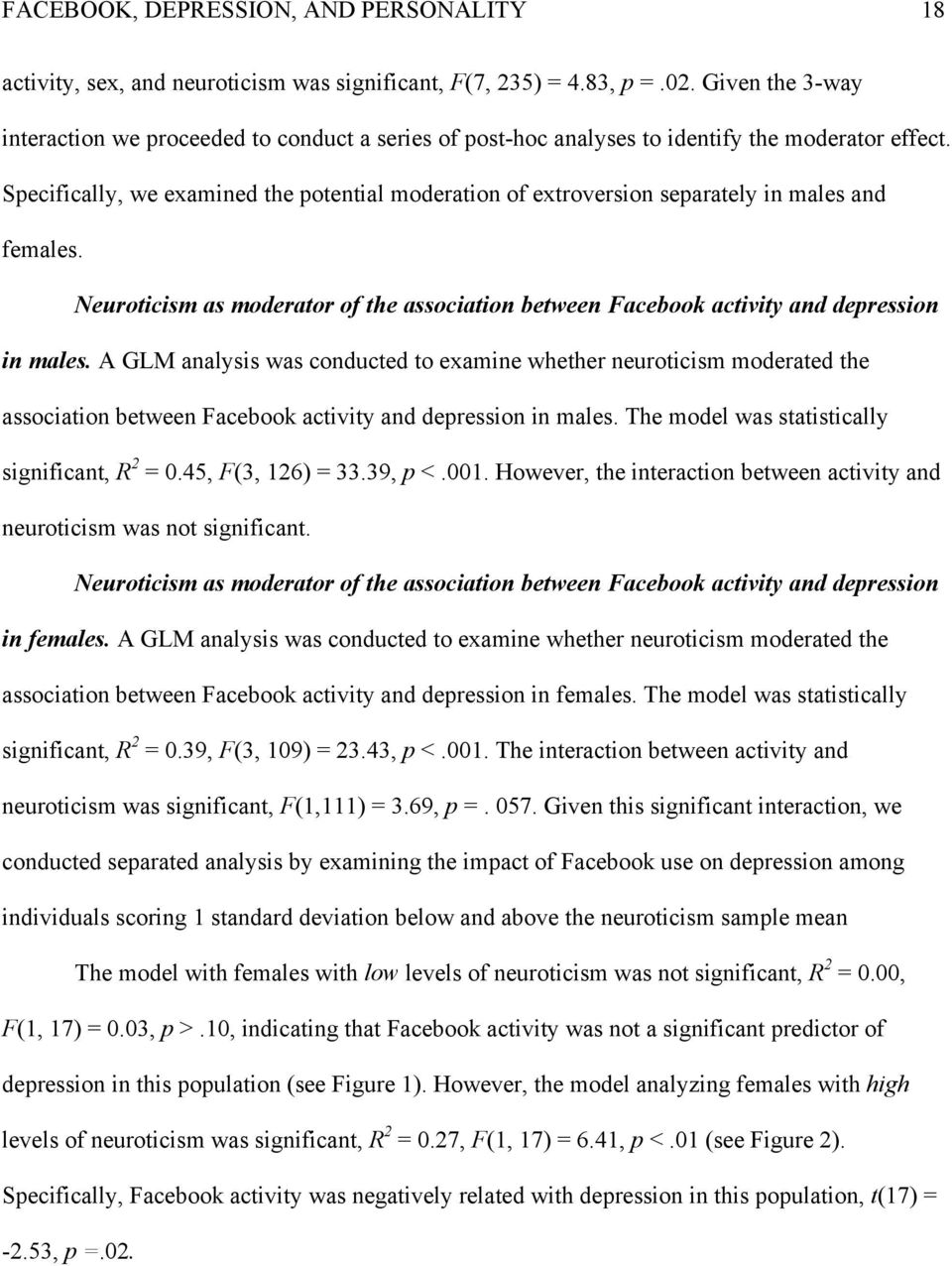 Specifically, we examined the potential moderation of extroversion separately in males and females. Neuroticism as moderator of the association between Facebook activity and depression in males.