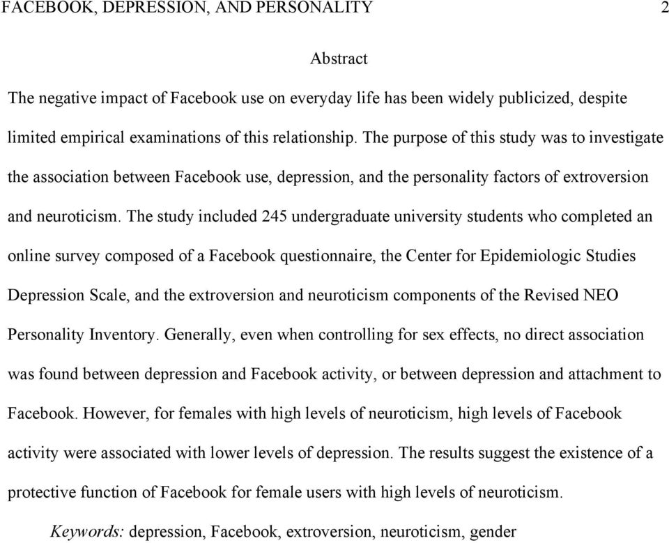 The study included 245 undergraduate university students who completed an online survey composed of a Facebook questionnaire, the Center for Epidemiologic Studies Depression Scale, and the