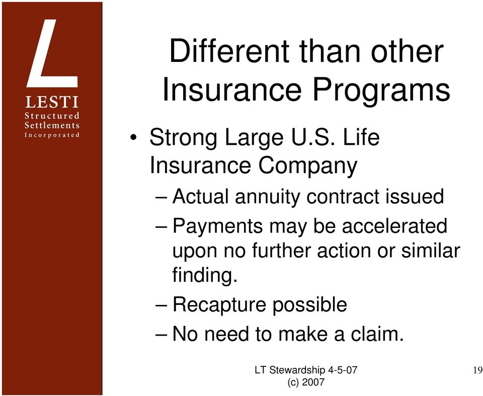 Life Insurance Company Actual annuity contract issued