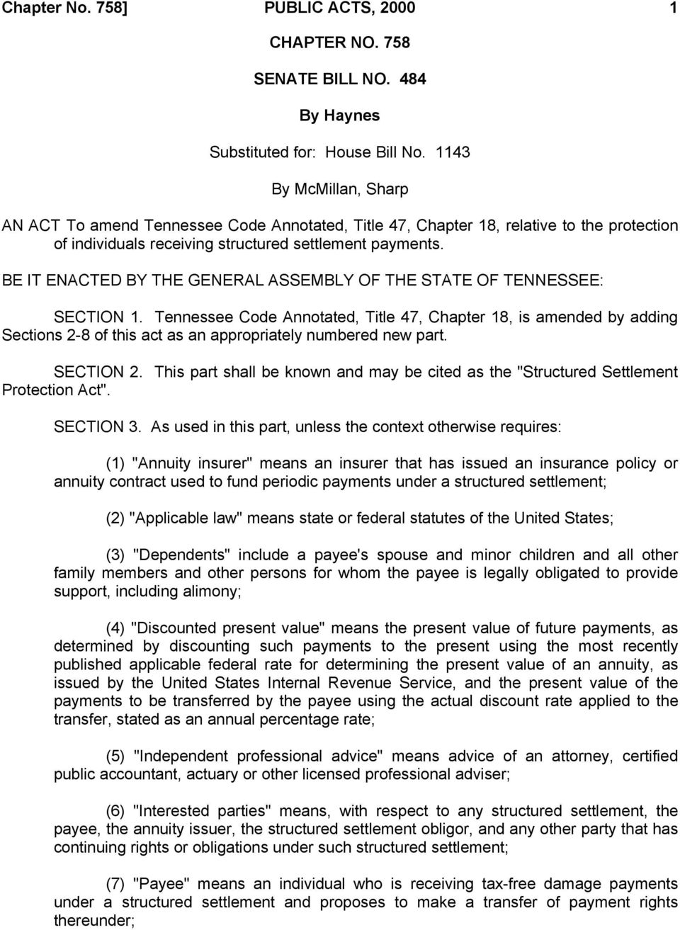 BE IT ENACTED BY THE GENERAL ASSEMBLY OF THE STATE OF TENNESSEE: SECTION 1.