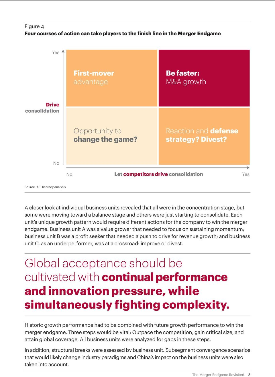 Kearney analysis A closer look at individual business units revealed that all were in the concentration stage, but some were moving toward a balance stage and others were just starting to consolidate.