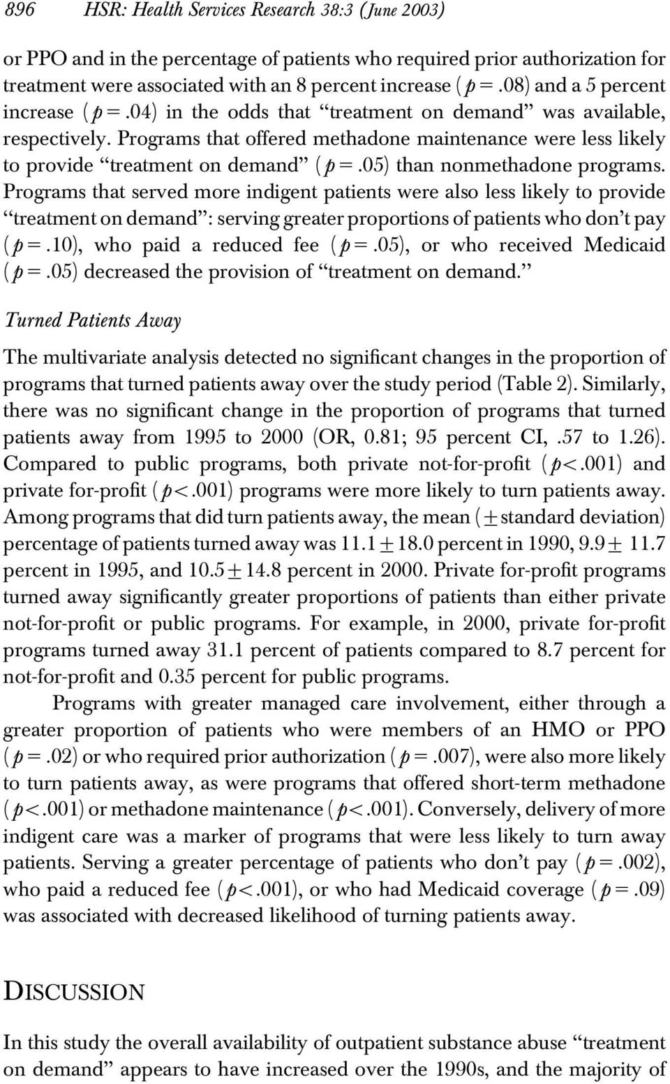 Programs that offered methadone maintenance were less likely to provide treatment on demand ( p 5.05) than nonmethadone programs.