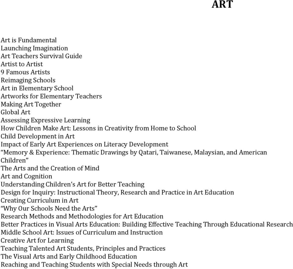 Memory & Experience: Thematic Drawings by Qatari, Taiwanese, Malaysian, and American Children The Arts and the Creation of Mind Art and Cognition Understanding Children s Art for Better Teaching