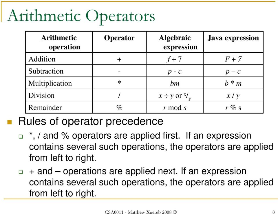applied first. If an expression contains several such operations, the operators are applied from left to right.