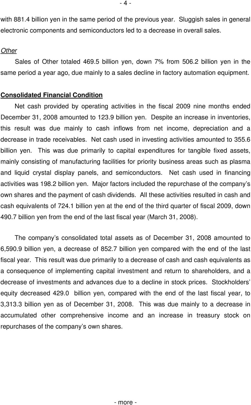 Consolidated Financial Condition Net cash provided by operating activities in the fiscal 2009 nine months ended December 31, 2008 amounted to 123.9 billion yen.