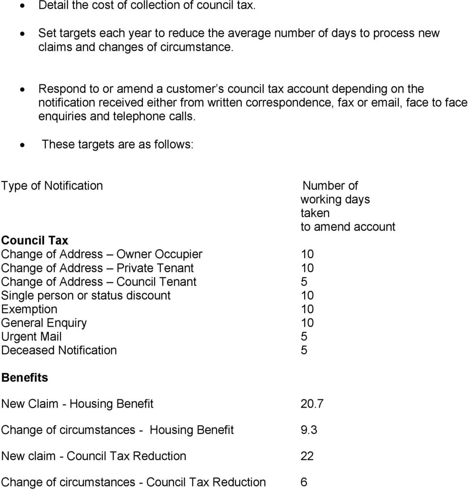 These targets are as follows: Type of Notification Number of working days taken to amend account Council Tax Change of Address Owner Occupier 10 Change of Address Private Tenant 10 Change of Address