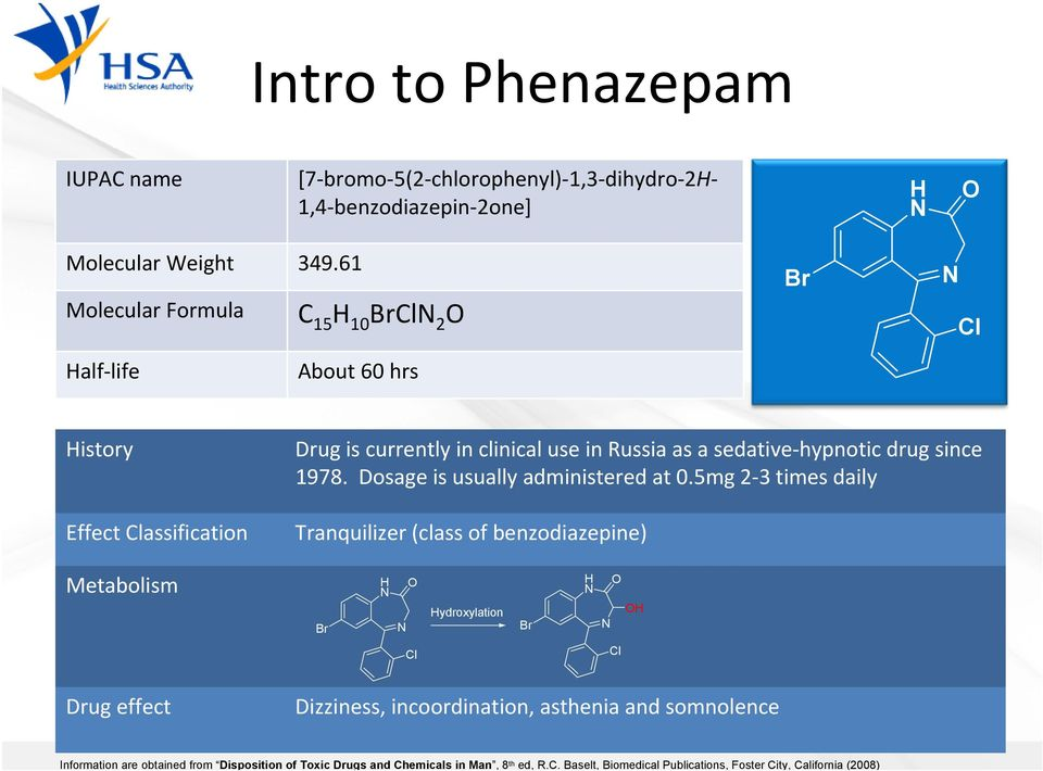 Baselt, Biomedical Publications, Foster City, California (2008) Intro to Phenazepam IUPAC name [7 bromo 5(2 chlorophenyl) 1,3 dihydro 2H 1,4 benzodiazepin 2one] H N