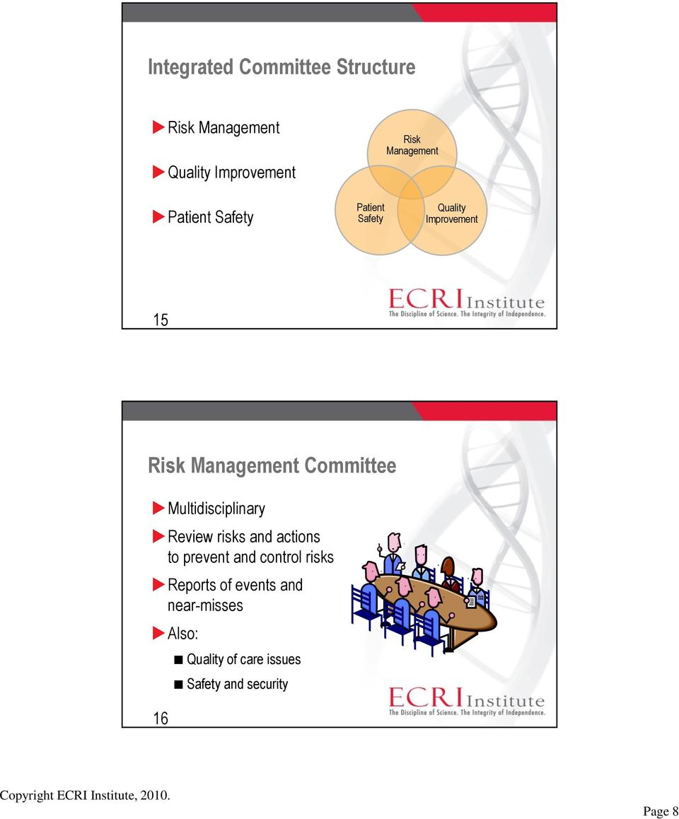 Committee Multidisciplinary Review risks and actions to prevent and control risks