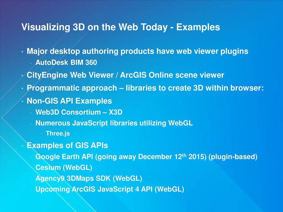 Examples - Web3D Consortium X3D - Numerous JavaScript libraries utilizing WebGL - Three.