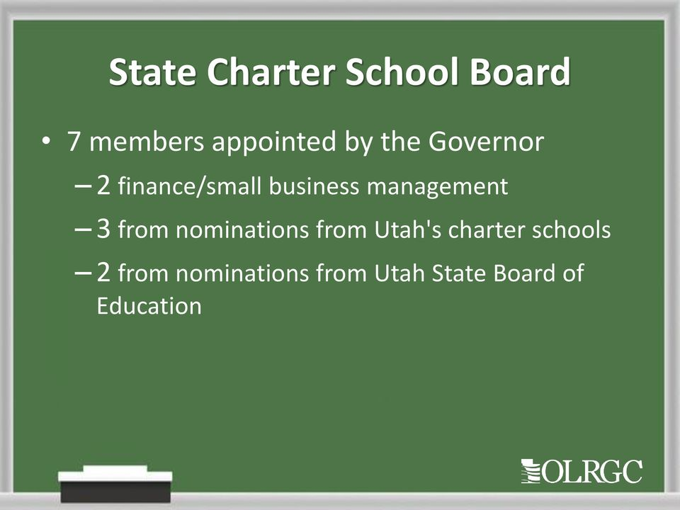3 from nominations from Utah's charter schools 2