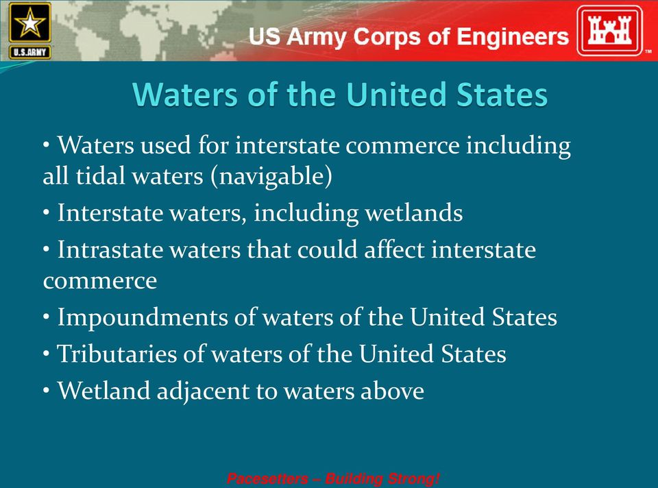 interstate commerce Impoundments of waters of the United States Tributaries of