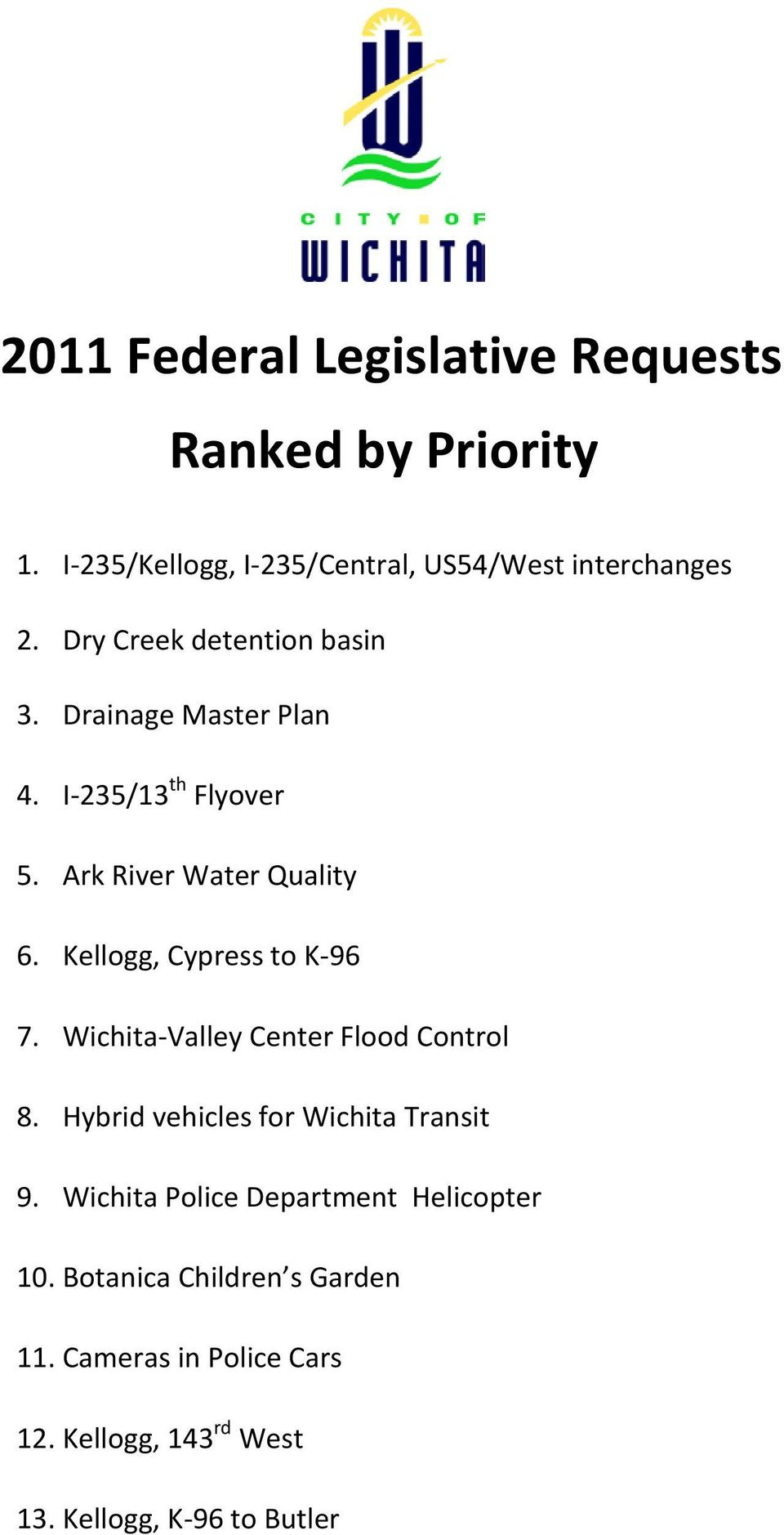 Kellogg, Cypress to K-96 7. Wichita-Valley Center Flood Control 8. Hybrid vehicles for Wichita Transit 9.