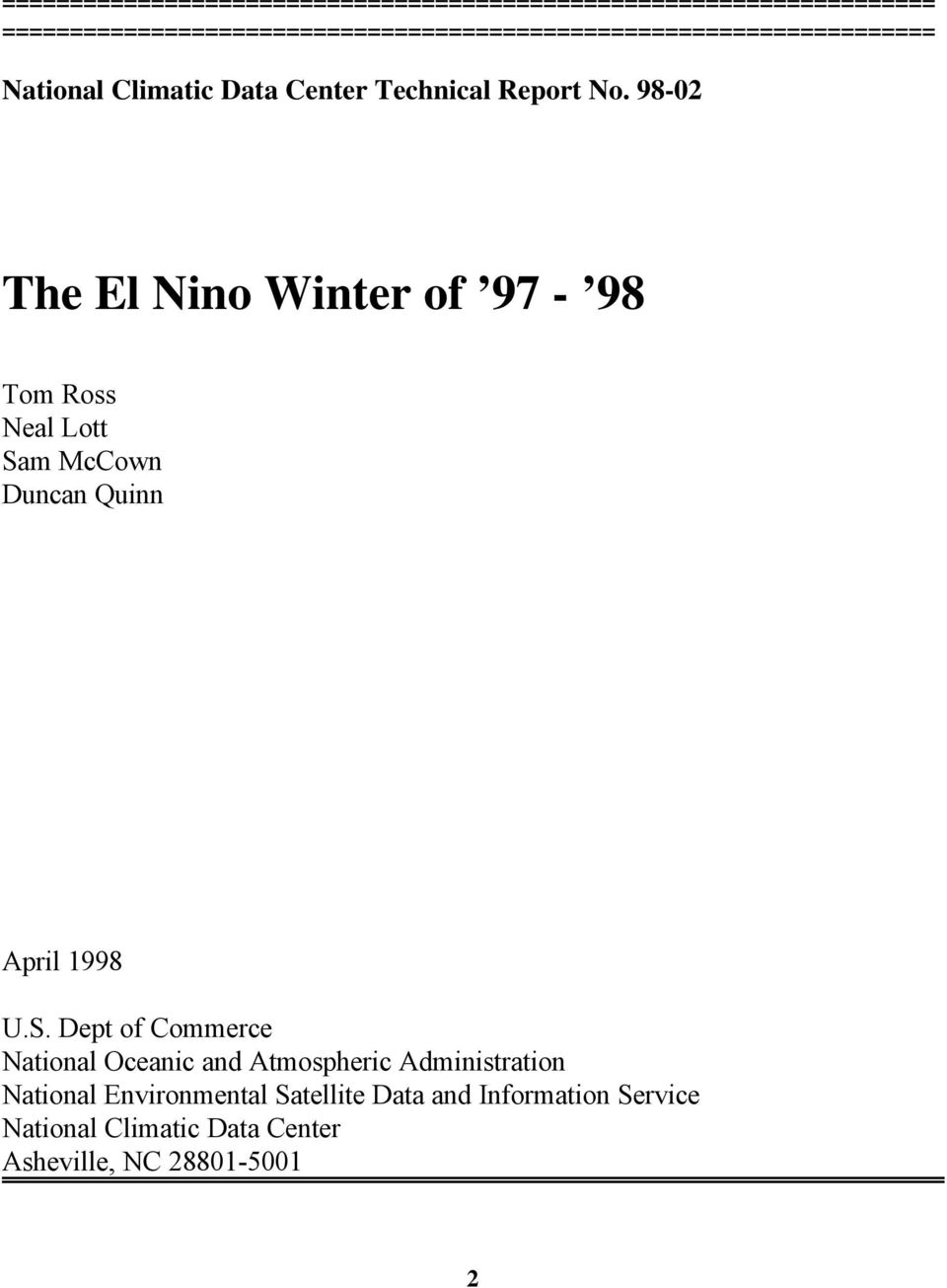 98-02 The El Nino Winter of 97-98 Tom Ross Neal Lott Sa