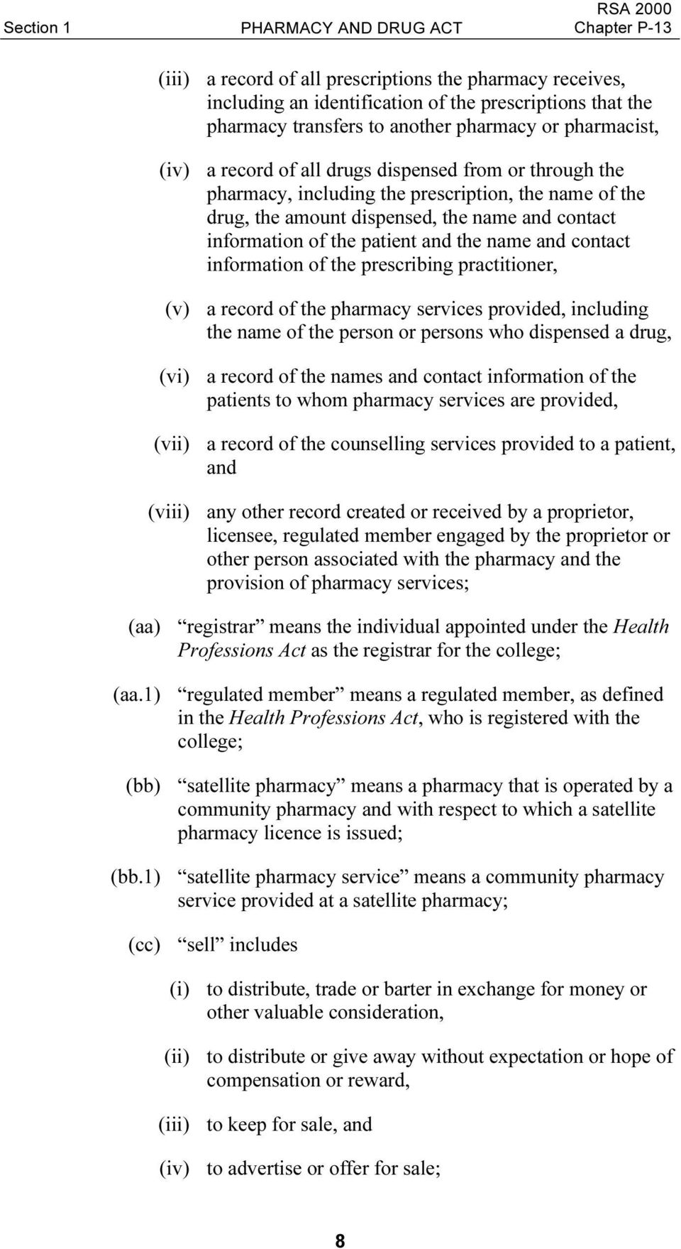 and the name and contact information of the prescribing practitioner, (v) a record of the pharmacy services provided, including the name of the person or persons who dispensed a drug, (vi) a record