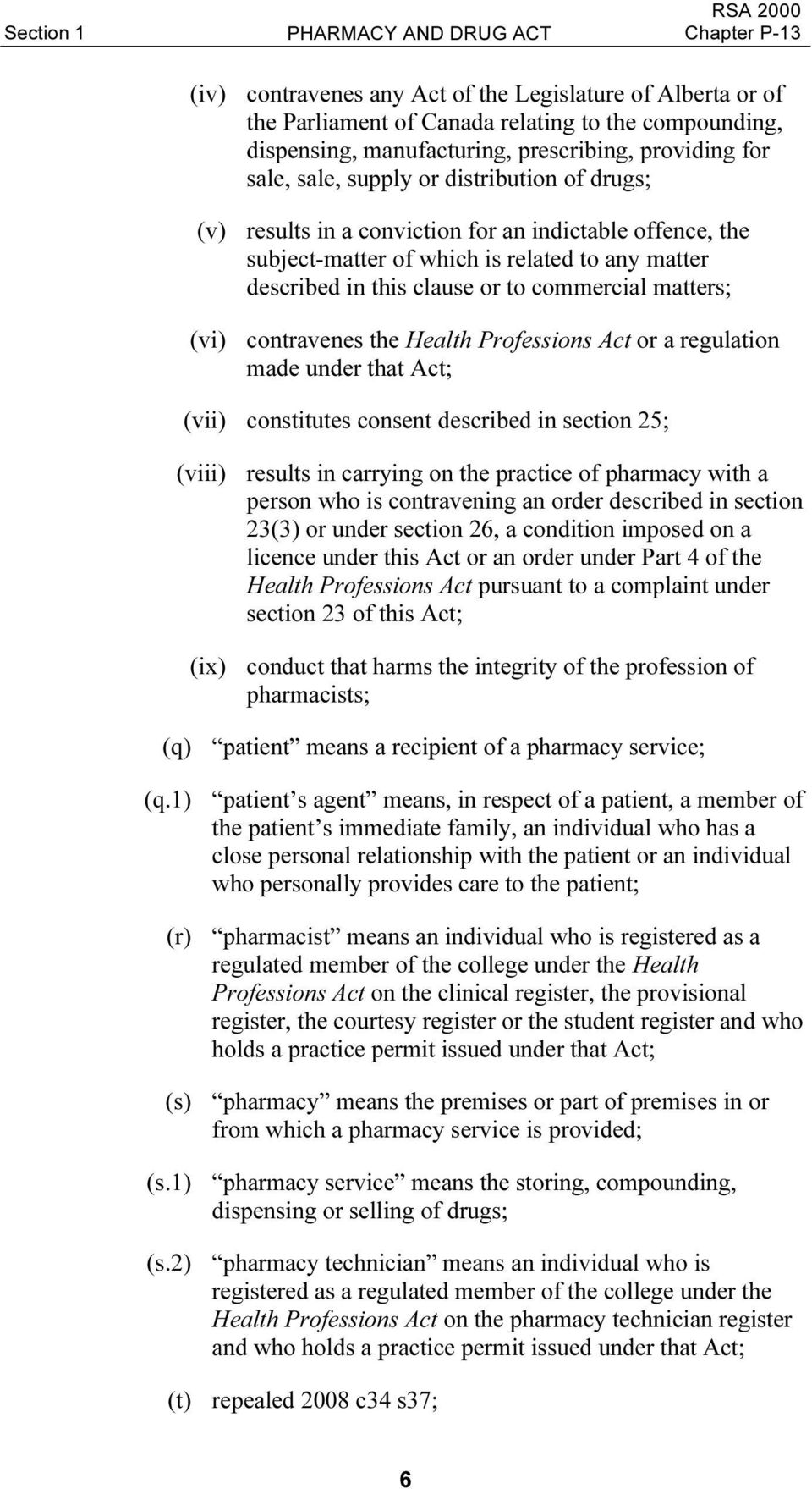 matters; (vi) contravenes the Health Professions Act or a regulation made under that Act; (vii) constitutes consent described in section 25; (viii) results in carrying on the practice of pharmacy