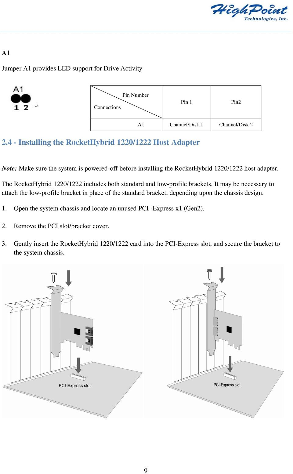 The RocketHybrid 1220/1222 includes both standard and low-profile brackets.