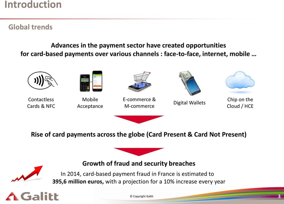Cloud / HCE Rise of card payments across the globe (Card Present & Card Not Present) Growth of fraud and security breaches In 2014,
