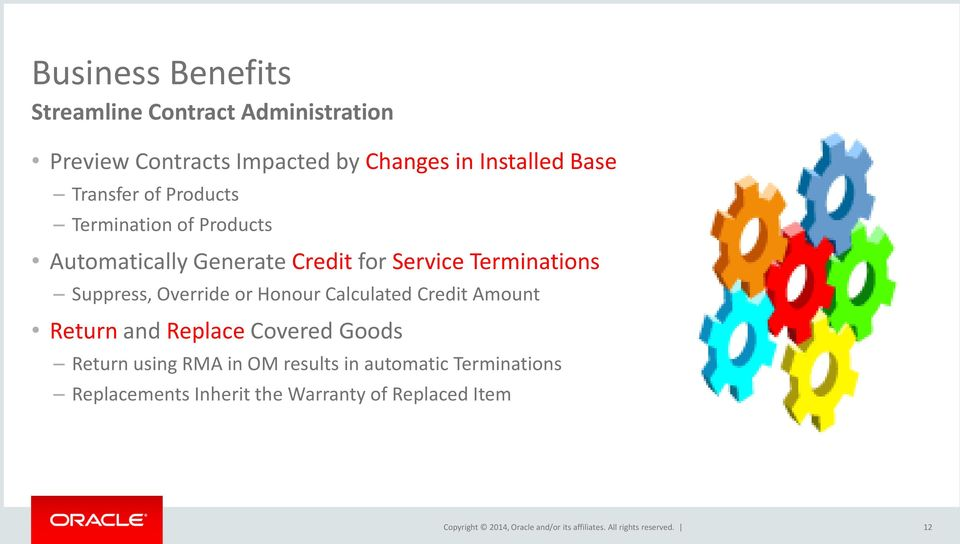 Terminations Suppress, Override or Honour Calculated Credit Amount Return and Replace Covered Goods