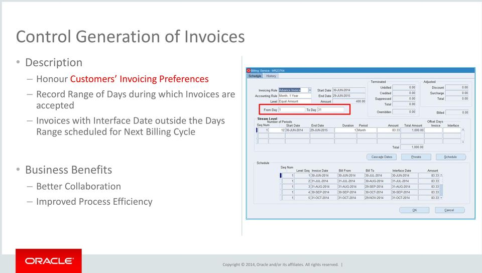 Invoices with Interface Date outside the Days Range scheduled for Next