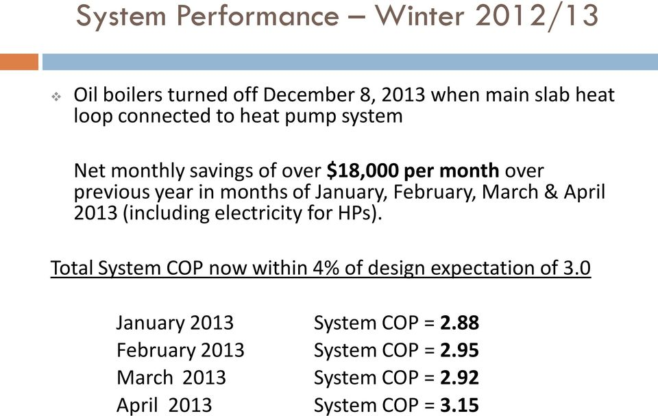 March & April 2013 (including electricity for HPs). Total System COP now within 4% of design expectation of 3.