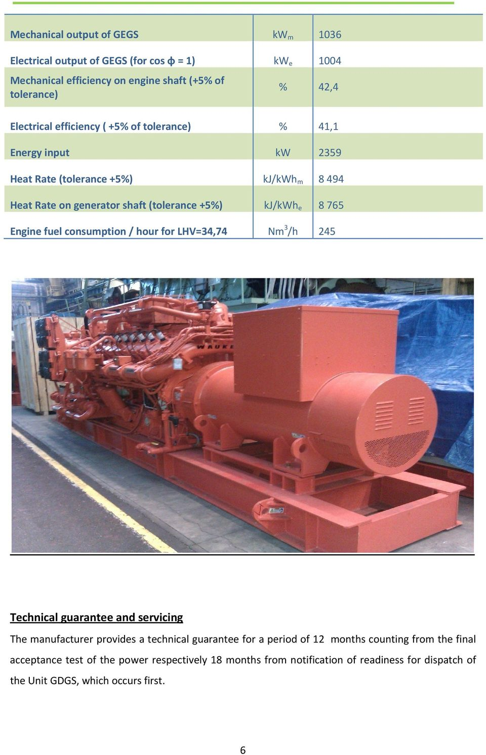 kj/kwh e 8 765 Engine fuel consumption / hour for LHV=34,74 Nm 3 /h 245 Technical guarantee and servicing The manufacturer provides a technical guarantee for a