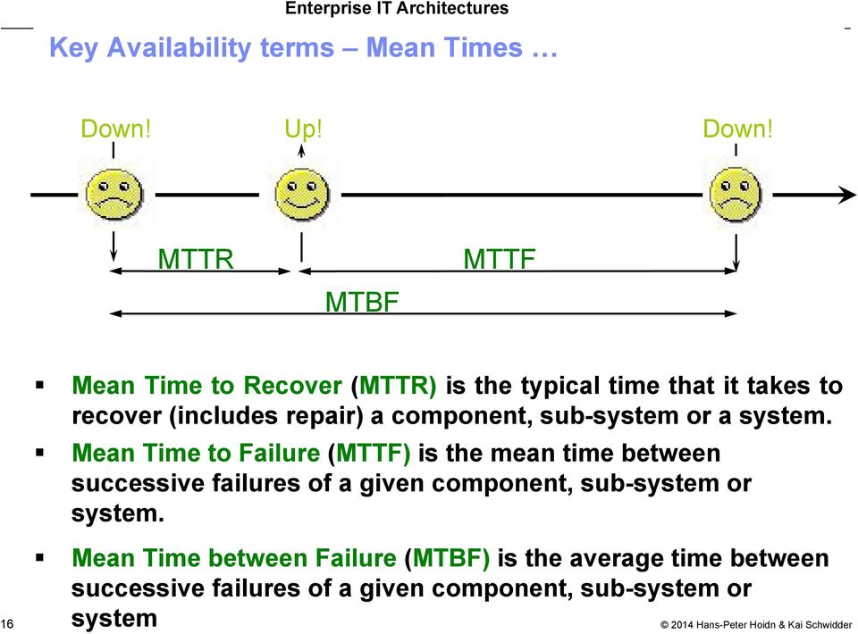 MTTR MTBF MTTF 16 Mean Time to Recover (MTTR) is the typical time that it takes to recover (includes repair)