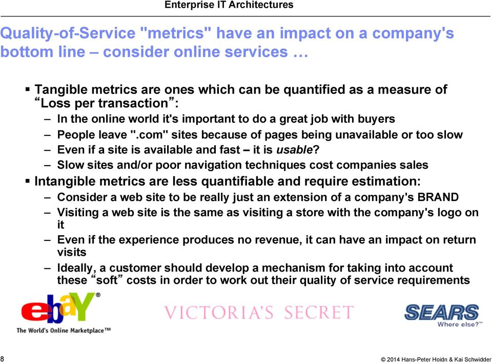 Slow sites and/or poor navigation techniques cost companies sales Intangible metrics are less quantifiable and require estimation: Consider a web site to be really just an extension of a company's