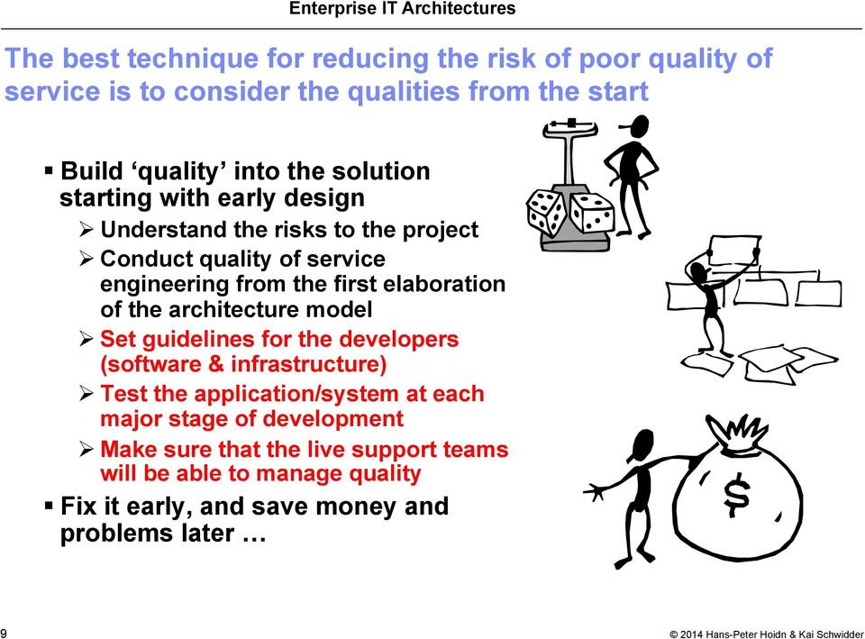 elaboration of the architecture model Ø Set guidelines for the developers (software & infrastructure) Ø Test the application/system at