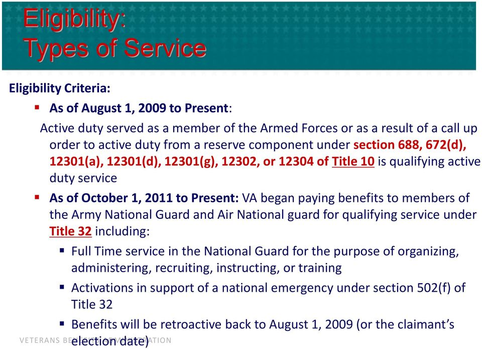 to members of the Army National Guard and Air National guard for qualifying service under Title 32 including: Full Time service in the National Guard for the purpose of organizing, administering,