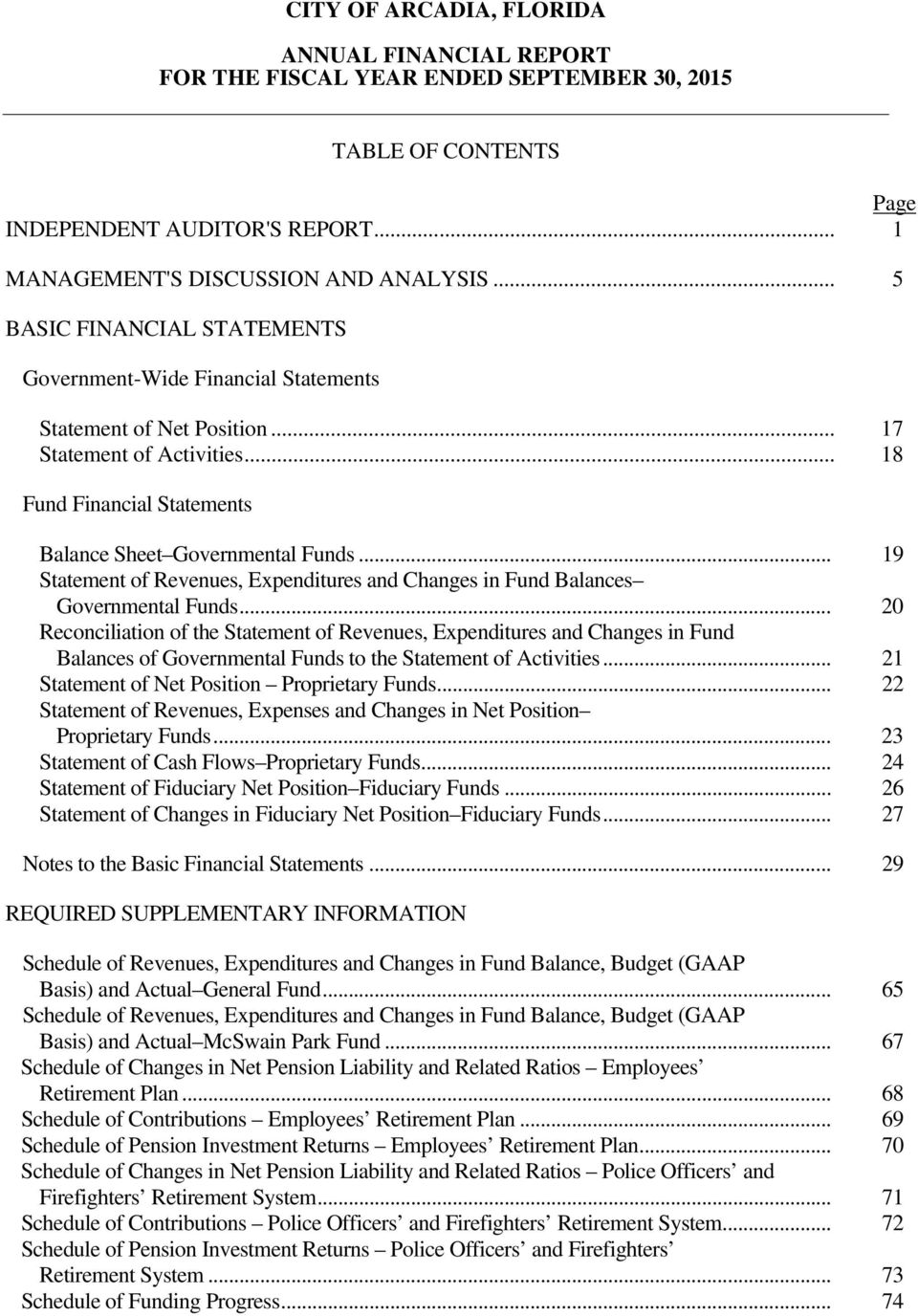 .. 19 Statement of Revenues, Expenditures and Changes in Fund Balances Governmental Funds.