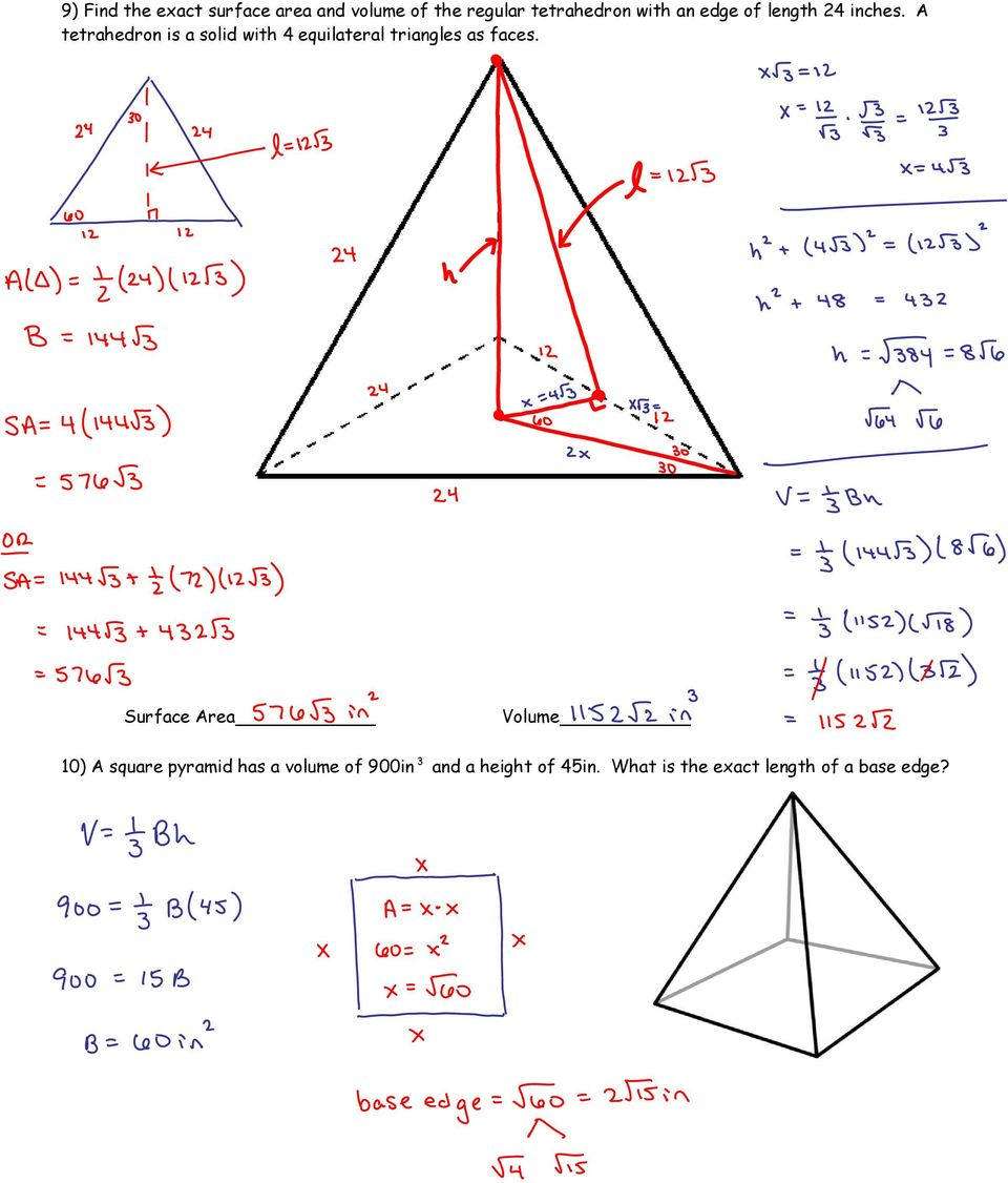 A tetrahedron is a solid with 4 equilateral triangles as faces.