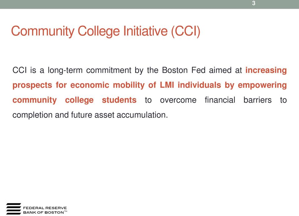 mobility of LMI individuals by empowering community college
