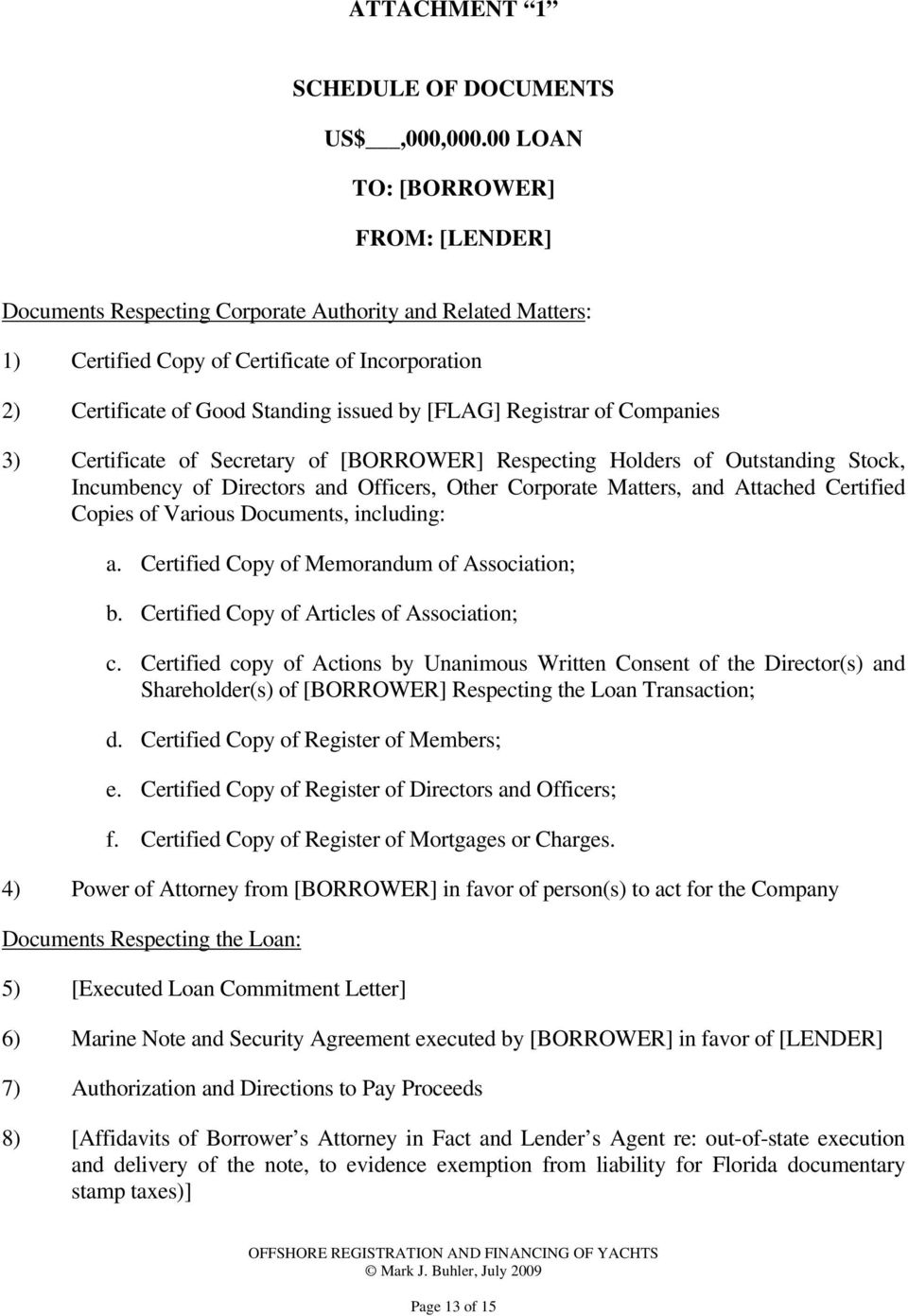 Florida Documentary Stamp Taxes Page 13 Of 15 Registrar Companies 3 Certificate Secretary BORROWER Respecting Holders