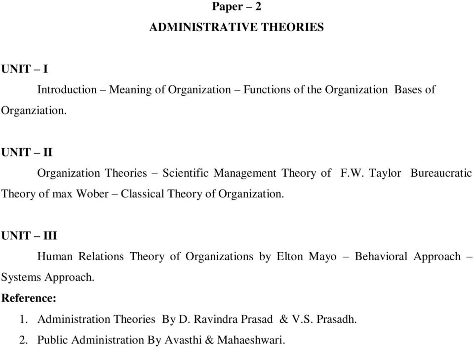 Management Theory of F.W. Taylor Bureaucratic Theory of max Wober Classical Theory of Organization.