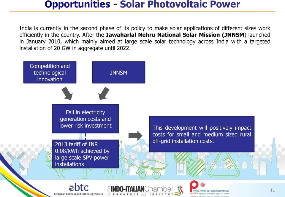 After the Jawaharlal Nehru National Solar Mission (JNNSM) launched in January 2010, which mainly aimed at large scale solar technology across India with a targeted