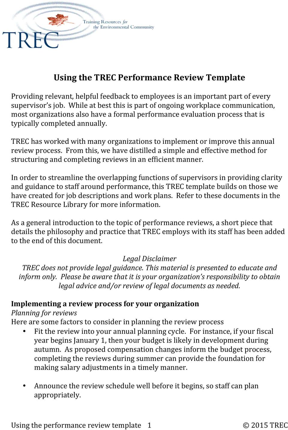 Using The Trec Performance Review Template Pdf