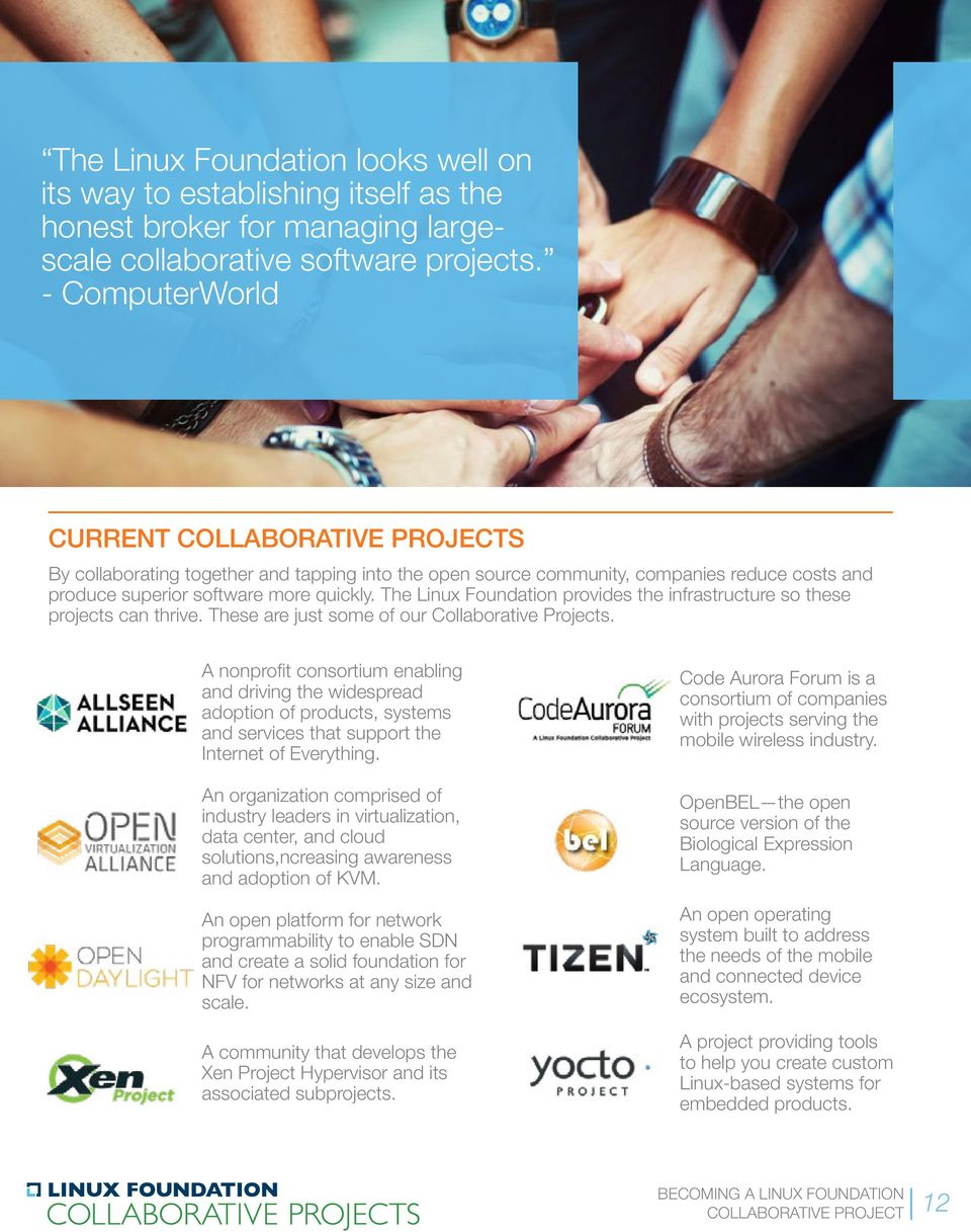 The Linux Foundation provides the infrastructure so these projects can thrive. These are just some of our Collaborative Projects.