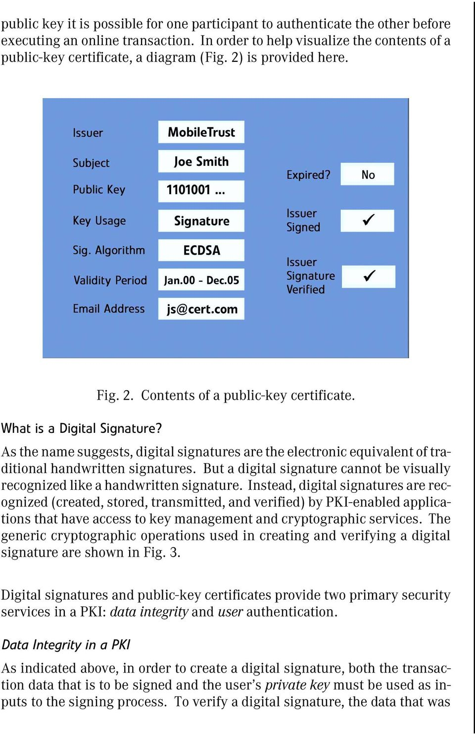 As the name suggests, digital signatures are the electronic equivalent of traditional handwritten signatures. But a digital signature cannot be visually recognized like a handwritten signature.