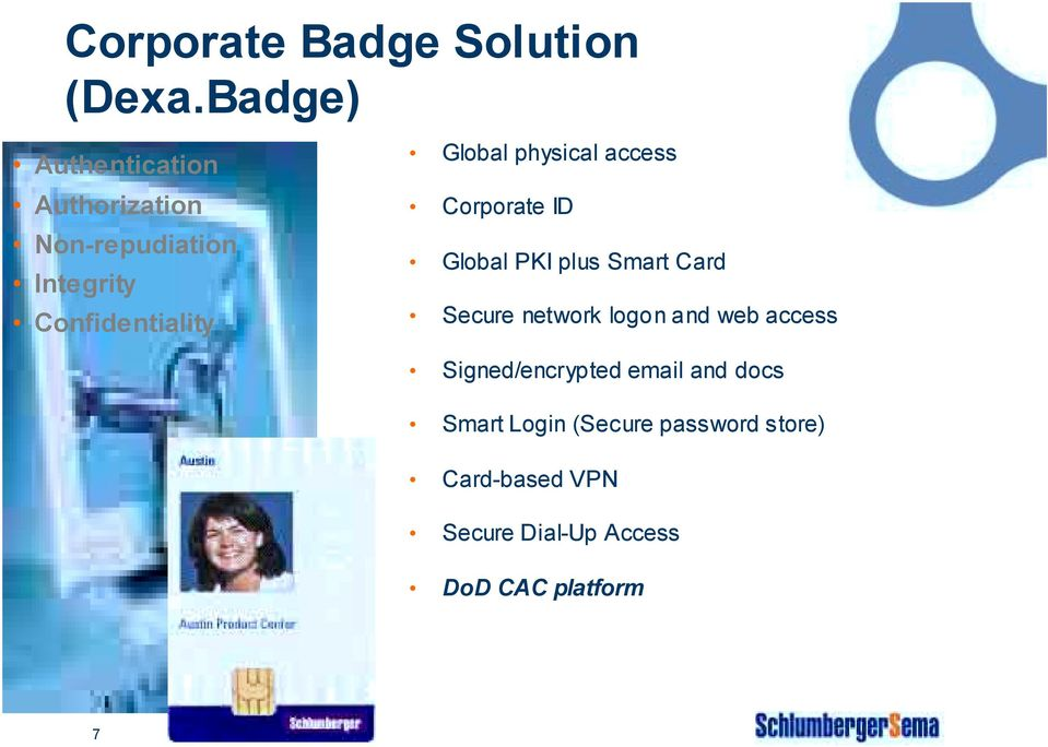 Global physical access Corporate ID Global PKI plus Smart Card Secure network