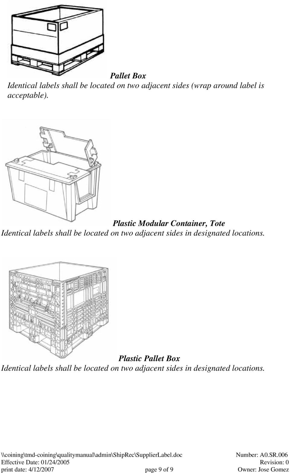 Plastic Modular Container, Tote Identical labels shall be located on two adjacent sides in