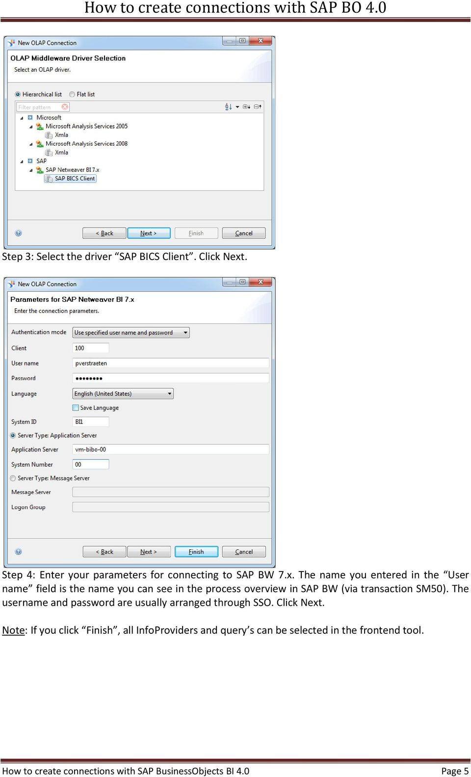 The name you entered in the User name field is the name you can see in the process overview in SAP BW (via