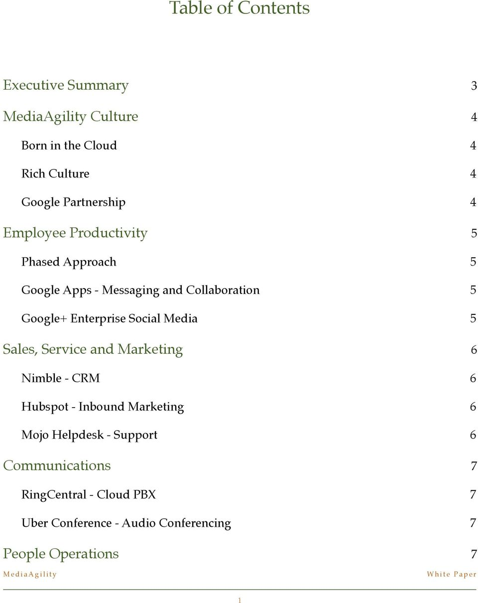 5 Google+ Enterprise Social Media! 5 Sales, Service and Marketing! 6 Nimble - CRM! 6 Hubspot - Inbound Marketing!