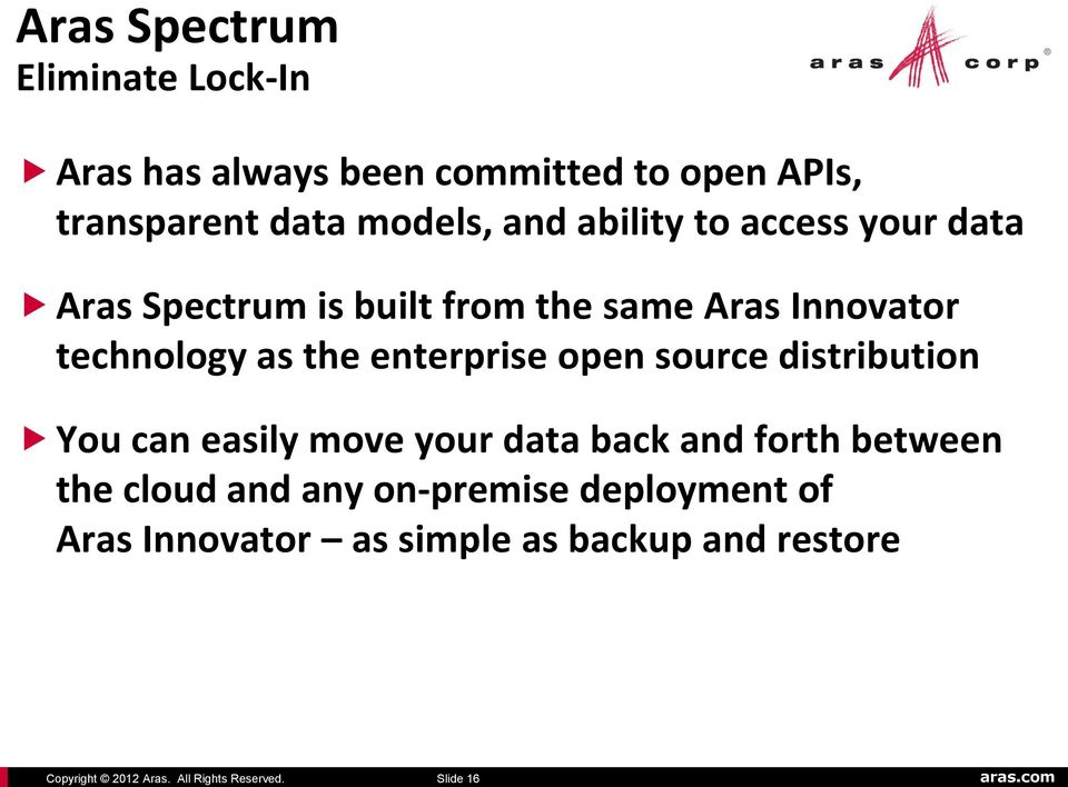 data Aras Spectrum is built from the same Aras Innovator technology as the enterprise open source