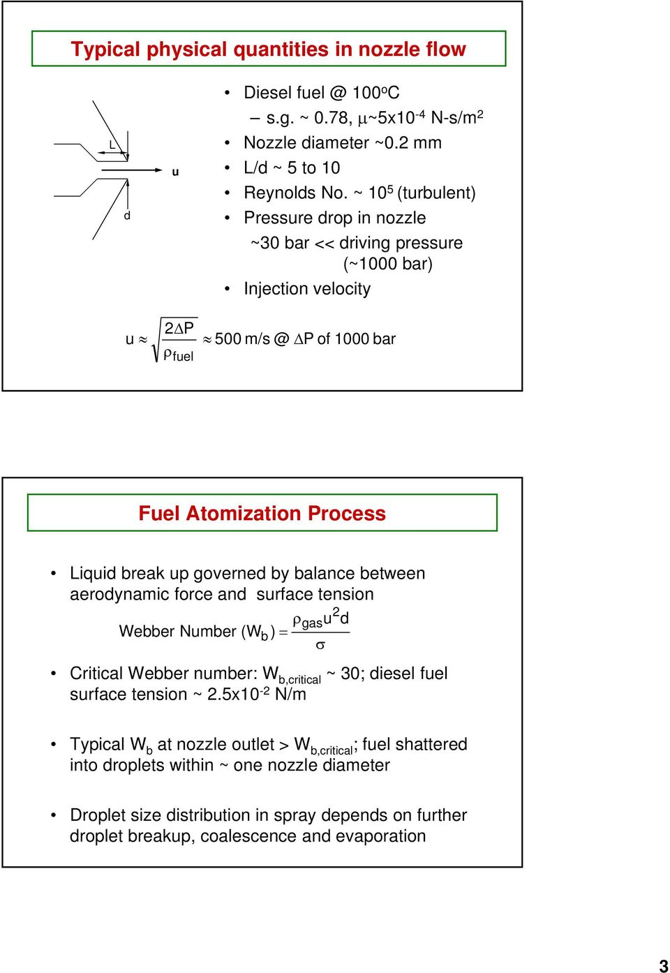 governed by balance between aerodynamic force and surface tension Webber Number (W ) Critical Webber number: W b,critical ~ 30; diesel fuel surface tension ~.