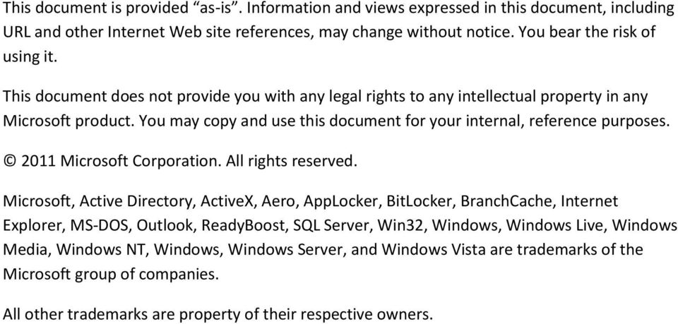 2011 Microsoft Corporation. All rights reserved.