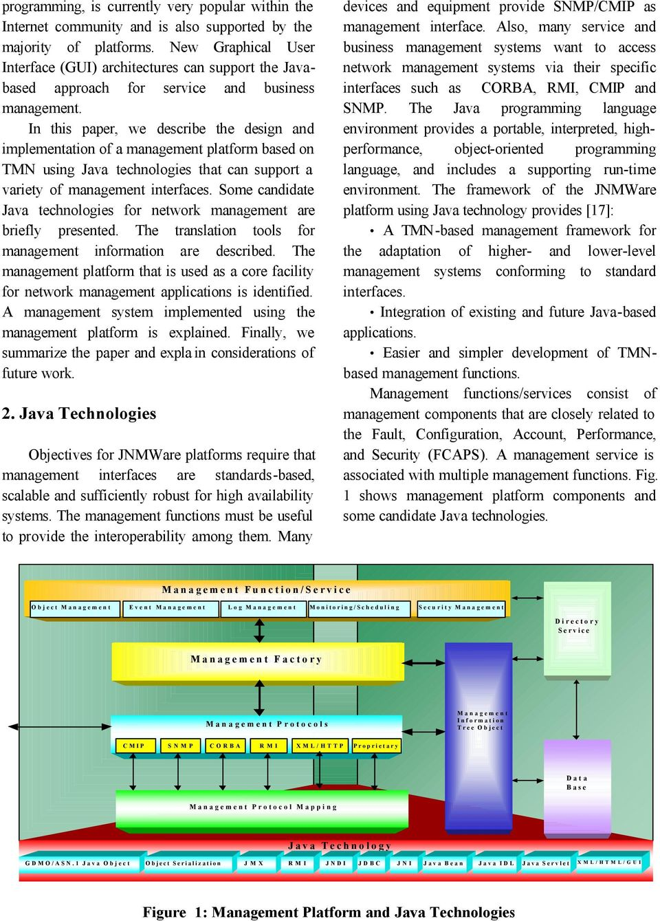 In this paper, we describe the design and implementation of a management platform based on TMN using Java technologies that can support a variety of management interfaces.