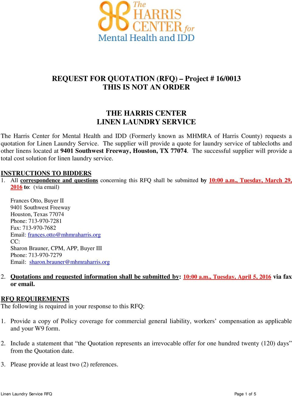 request for quotation rfq project 16 0013 this is not an order