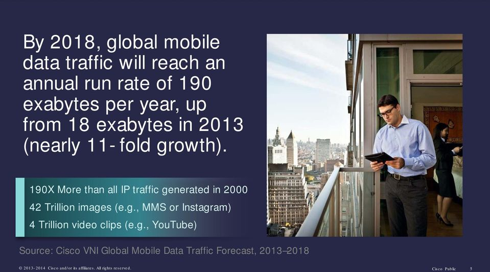 g., YouTube) Source: Cisco VNI Global Mobile Data Traffic Forecast, 2013 2018 2013-Cisco 2 0 1 4 and/or Cis c o aits nd