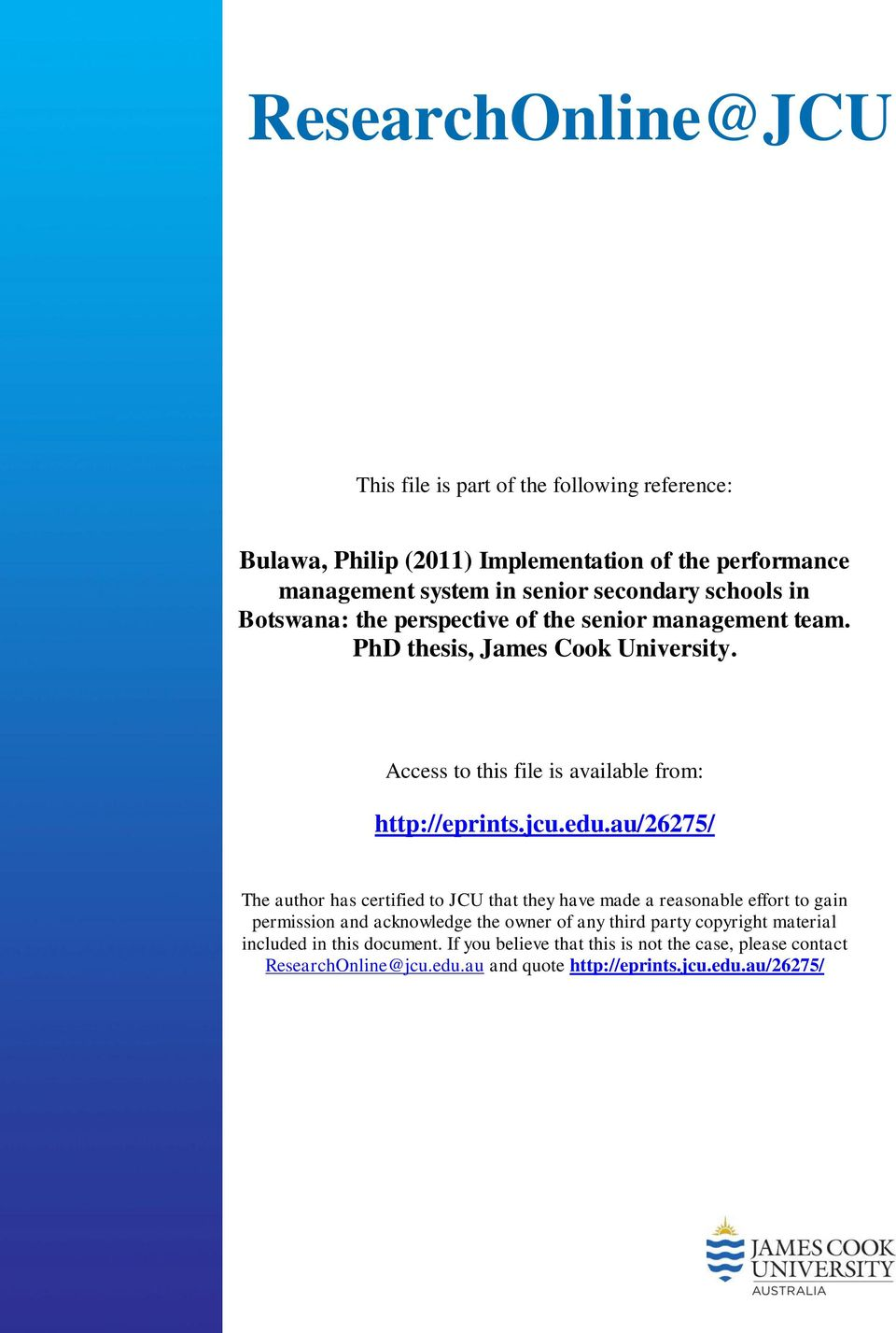 edu.au/26275/ The author has certified to JCU that they have made a reasonable effort to gain permission and acknowledge the owner of any third party copyright